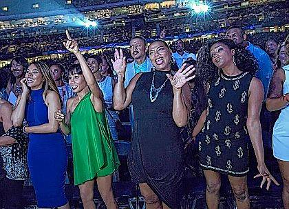 """This image released by Universal Pictures shows Regina Hall, from left, Jada Pinkett Smith, Queen Latifah and Tiffany Haddish in a scene from the comedy """"Girls Trip."""" (Michele K. Short/Universal Pictures via AP)"""