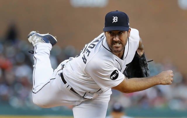 Detroit Tigers pitcher Justin Verlander throws against the Kansas City Royals in the fifth inning of a baseball game in Detroit, Monday, July 24, 2017. (AP Photo/Paul Sancya)