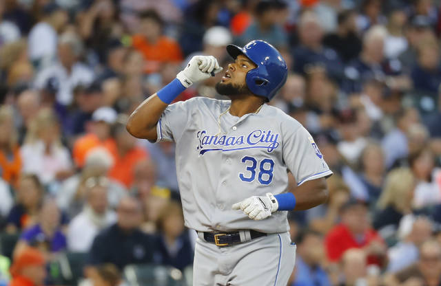 Kansas City Royals' Jorge Bonifacio celebrates his solo home run against the Detroit Tigers in the sixth inning of a baseball game in Detroit, Monday, July 24, 2017. (AP Photo/Paul Sancya)