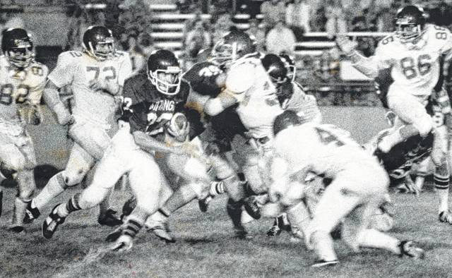 Steve Contini (49) prepares to make a tackle on an Allen East running back in 1978. This the type of hit the Heads Up program is seeking to eliminate.