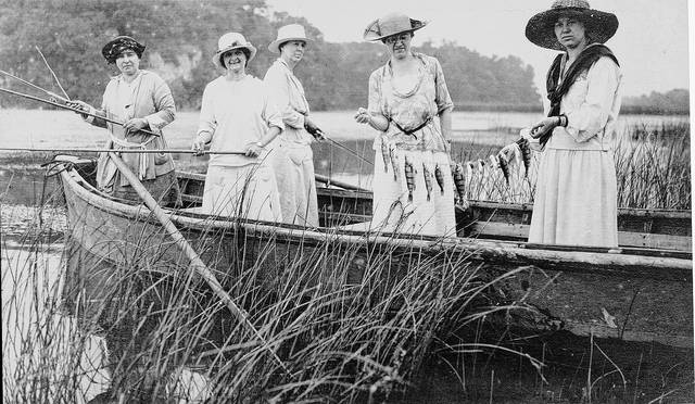 A fishing party, dated Aug. 12, 1920, showed women also enjoyed the sport. From left, Sarah Eger, Grace Eger, Lucile Eger, Jennie Eger and Tillie Eger Knipp.