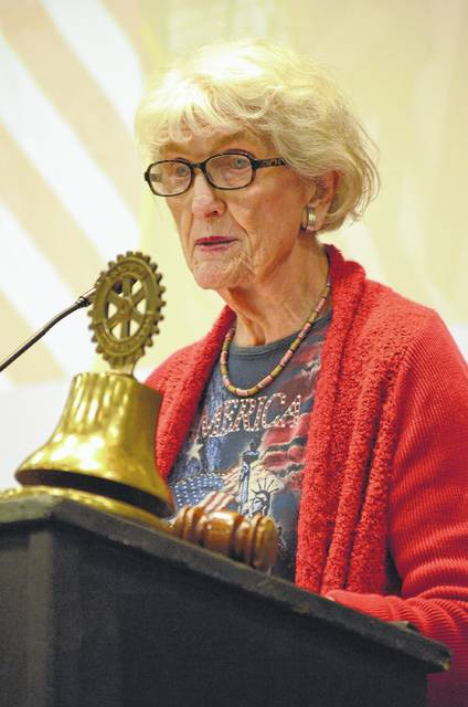 Mary Leavitt, owner of The Flag Lady's Flag Store, of Columbus, spoke to the Allen Counry Rotary Club on Monday at the Veterans Memorial Civic and Convention Center.