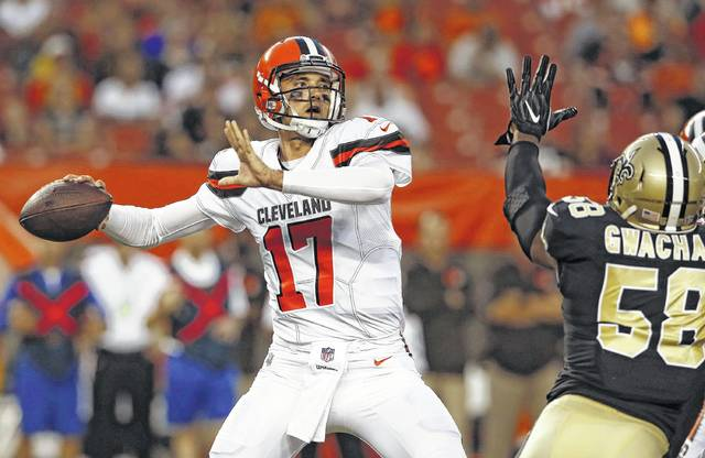 Brock Osweiler has been picked by Cleveland offensive tackle Joe Thomas as the likely starter for the Browns in the season opener Sept. 10 against Pittsburgh.