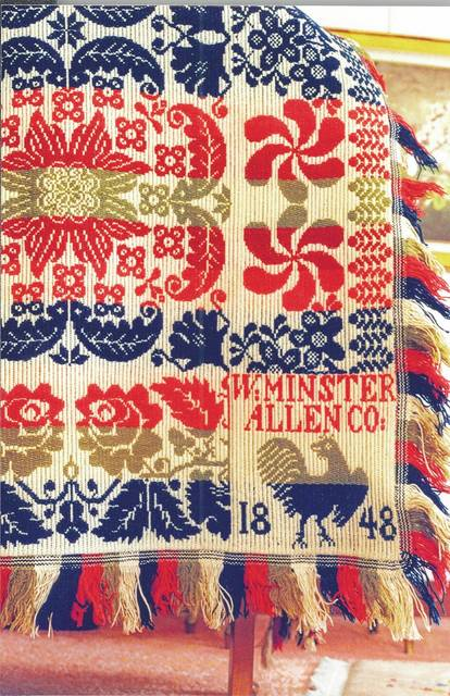 This 1848 coverlet by John G. Adams was owned by Thomas Stemen, of Lima. This detail of the coverlet shows Adams' rooster corner block.