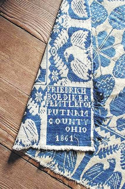 This 1861 coverlet was made by Friedrich Boediker, of Putnam County. It was donated to the Swiss Community Historical Society by Seth and Carol Bixel.