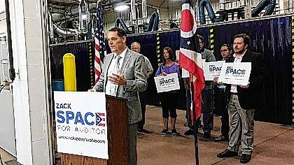 Ohio Auditor candidate Zack Space speaks in Lima as part of his four-community campaign kickoff tour.