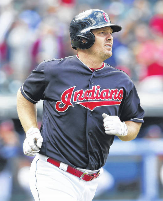 The Indians' Jay Bruce rounds the bases after hitting a solo home run during Thursday's game against Minnesota in Cleveland.