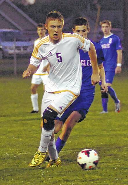 Kalida's Grant Laudick controls the ball during Tuesday night's home match against Liberty-Benton.