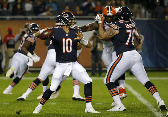 Chicago Bears quarterback Mitchell Trubisky (10) throws during the first half of an NFL football game against the Cleveland Browns, Thursday, Aug. 31, 2017, in Chicago. (AP Photo/Charles Rex Arbogast)