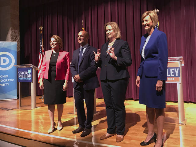 Democratic candidates for Ohio governor, from left, ex-state Rep. Connie Pillich, state Sen. Joe Schiavoni, Dayton Mayor Nan Whaley and former U.S. Rep. Betty Sutton met, Tuesday in Martins Ferry for their first debate.