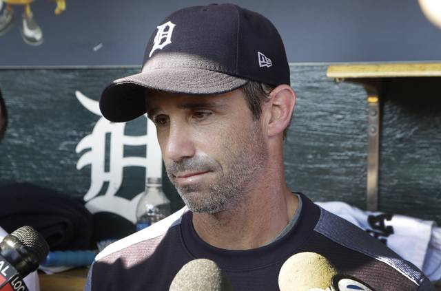 Detroit Tigers manager Brad Ausmus talks to the media before a baseball game against the Minnesota Twins, Friday, Sept. 22, 2017, in Detroit. The Tigers will not bring back Ausmus next season. General manager Al Avila announced the move Friday. Ausmus was 312-325 over nearly four full seasons, including a Central Division title in his first year. But the Tigers have generally underperformed since then. (AP Photo/Carlos Osorio)
