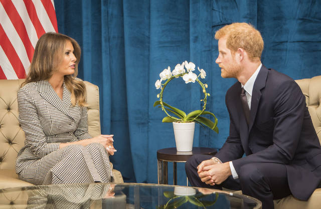 Britain's Prince Harry speaks during a bilateral meeting with First Lady of the United States Melania Trump ahead of the start of the 2017 Invictus Games in Toronto, Canada, Saturday. (Danny Lawson/PA via AP)