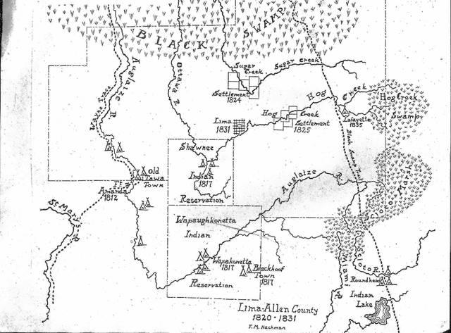 This map, signed F.M. Hackman and of Lima-Allen County from 1820-1831, shows various reservations in the Lima area from that time. The Native Americans in this area ceded their lands to the United States in a treaty Sept. 29, 1817. The treaty turned over some 4.6 million acres in Ohio alone, with more in Indiana and Michigan. This expanded what the Treaty of Greenville had started.