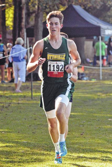 Ottoville's Brendan Siefker won the high school boys race at Saturday's Van Wert County Hospital Invitational in 15 minutes, 46 seconds.