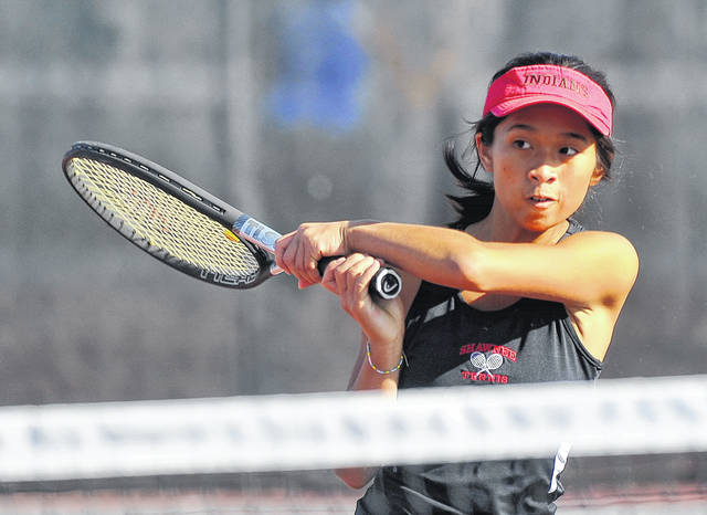 Shawnee's Alotus Wei hits a return during Saturday's WBL Tennis Tournament at UNOH. See more photos at LimaScores.com.