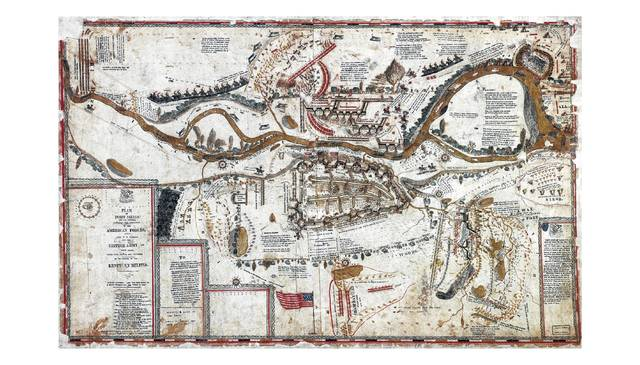 """This map of Fort Meigs """"and its environs"""" shows American forces and their foes, the British army with ally Tecumseh. The Treaty of Greenville was signed in 1795. This was the beginning of boundaries being put upon the Native Americans."""