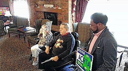 Supporters of the Allen County Regional Transit Authority ballot issue spoke Wednesday at Lochhaven Apartments. From left: Diana Bowker, John Bowker, and 6th Ward Councilman Derry Glenn.