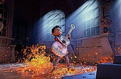 """This image released by Disney-Pixar shows characters Miguel, voiced by Anthony Gonzalez in a scene from the animated film, """"Coco."""""""