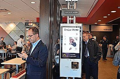 This is the new touch screen kiosk where customers can order and pay for their meals at the newly renovated McDonald's on W Market Street.