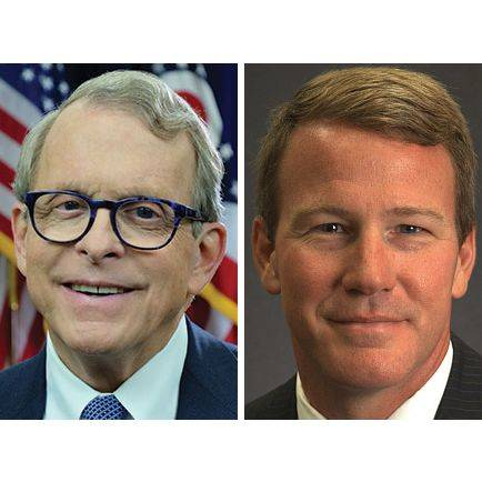 Ohio Attorney General Mike DeWine, left, and Ohio Secretary of State Jon Husted, right