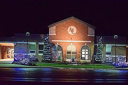 Holiday lights display at Allen East.