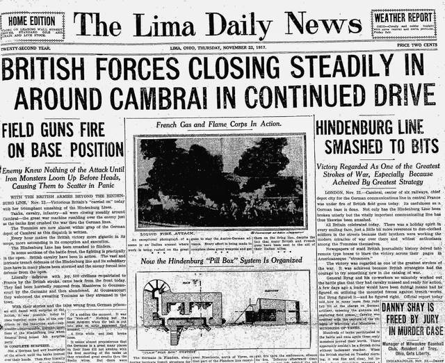 The Lima Daily News, Nov. 22, 1917, edition shouted about a victory at Cambrai during World War I. British forces were doing well against the Germans in this area in France.