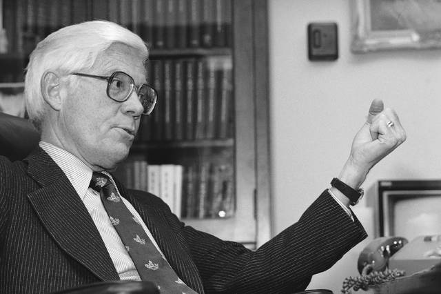 In this Dec. 10, 1979, photo, Rep. John B. Anderson R-Ill., faces reporters in Washington. The former congressman and presidential candidate died Sunday in Washington, D.C. Anderson served 10 terms in the U.S. House of Representatives and sought the Republican presidential nomination in 1980. He later waged an independent campaign against Democratic President Jimmy Carter and GOP challenger Ronald Reagan. Anderson received 7 percent of the national vote.