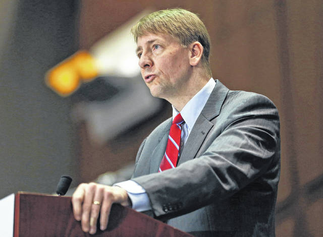 Consumer Financial Protection Bureau Director Richard Cordray speaks in March 2015 during a panel discussion in Richmond, Va. Cordray, the first director of the Consumer Financial Protection Bureau, tendered his resignation Nov. 24, and plans to kick off his gubernatorial campaign Tuesday in Grove City.