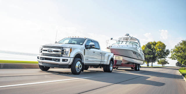 The 2018 Ford F-Series Super Duty includes a newly upgraded 6.7-liter Power StrokeAE V8 diesel engine, offering best-in-class 450 horsepower and 935 lb.-ft. of torque.