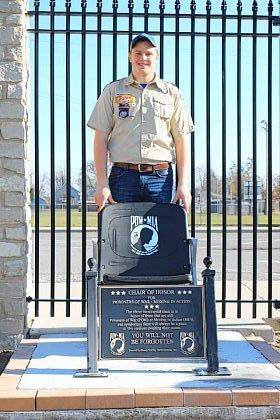 Jason Ditto stands next to his Eagle Scout project.