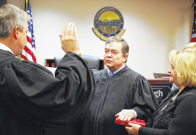 Lima Municipal Court Judge David Rodabaugh was issued the oath of office Thursday in a courtroom ceremony, surrounded by family and friends. Rodabaugh was elected in November to a six-year term on the bench. He was appointed March 1, 2016, to complete the term of former Judge Rickard Workman, who retired.