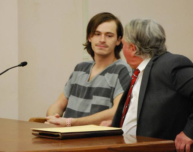 J Swygart | The Lima News Patrick Hull of Lima, pictured with his attorney, John Fisher, pleaded not guilty on Monday to charges of aggravated vehicular homicide in the Aug. 5 death of Lima resident Holly Mooney.