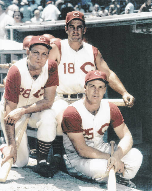 Wally Post poses for a photo with other Cincinnati Reds players in this undated photo.