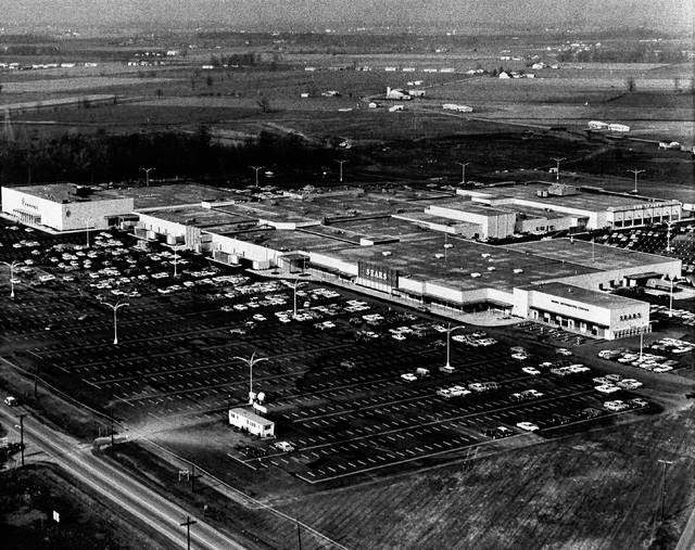This aerial photo shows the Lima Mall in 1967. The mall at that point included the anchor store The Leader, and Lazarus had not been built west of JCPenney yet.