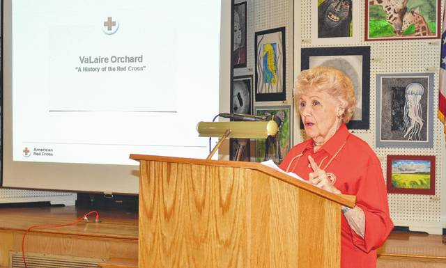 VaLaire Orchard, an American Red Cross volunteer who has been with the organization for nearly 75 years, provides a history of the Red Cross during a presentation March 26 at the Allen County Museum. She will receive the Presidential Award for Excellence.