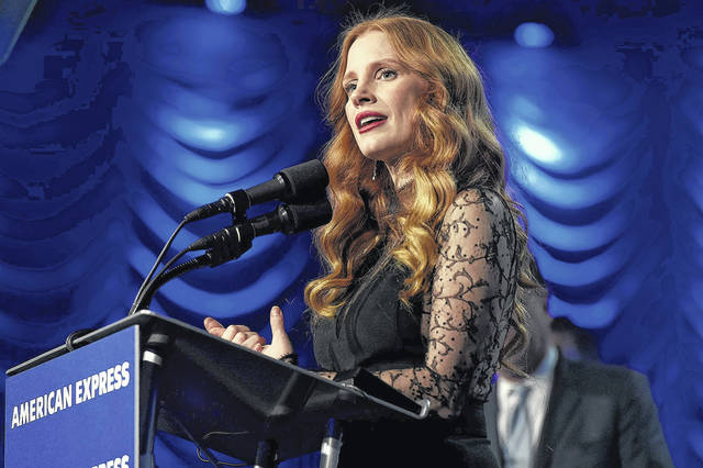 """Jessica Chastain accepts the chairman's award for """"Molly's Game"""" at the 29th annual Palm Springs International Film Festival on Tuesday in Palm Springs, Calif."""