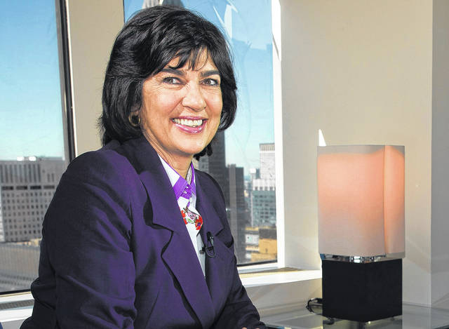CNN chief international correspondent Christiane Amanpour poses for a photo in 2013 after an interview in New York. PBS replaced Charlie Rose, fired after several women complained of unwanted sexual advances, with an Amanpour program in the first half-hour and a BBC show co-hosted by Katty Kay and Christian Fraser for the second half-hour.
