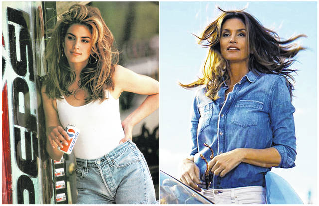 This combination of photos released by Pepsi shows actress-model Cindy Crawford in a scene from her 1992 iconic Super Bowl Pepsi commercial, left, and a scene from her 2018 commercial which will premiere during Super Bowl LII on Feb. 4. The new ad includes her son, Presley Walker Gerber, as well as footage from Michael Jackson's memorable Pepsi commercial.