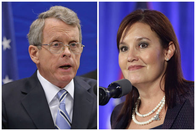 This combination of file photos shows Republican candidates for governor in Ohio's Tuesday, May 8, 2018, primary including Ohio Attorney General and former U.S. Sen. Mike DeWine, left, on Feb. 5, 2013, in Richfield, Ohio; and Lt. Gov. Mary Taylor, right, on Nov. 4, 2014, in Columbus, Ohio. (AP Photos/Tony Dejak, File)
