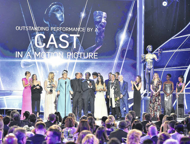 "Frances McDormand and the cast of ""Three Billboards Outside Ebbing, Missouri"" accept the award for outstanding performance by a cast in a motion picture at the 24th annual Screen Actors Guild Awards at the Shrine Auditorium & Expo Hall on Sunday in Los Angeles."