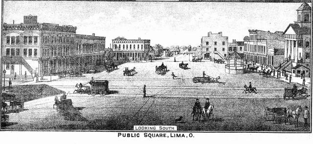 A drawing from 1880 of Lima's Public Square shows the changes that have happened since then.