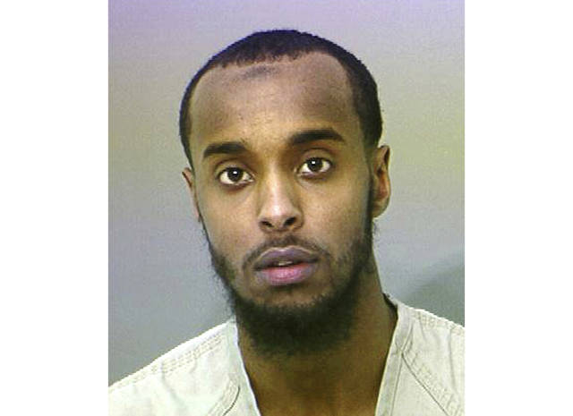 FILE - This undated file photo provided by the Franklin County Sheriff's Office shows Abdirahman Sheik Mohamud. The Columbus, Ohio, man is scheduled to be sentenced on Jan. 19, 2018. Mohamud pleaded guilty in August 2015 to supporting terrorism and making false statements to authorities. (AP Photo/Franklin County Sheriff's Office via AP, File)