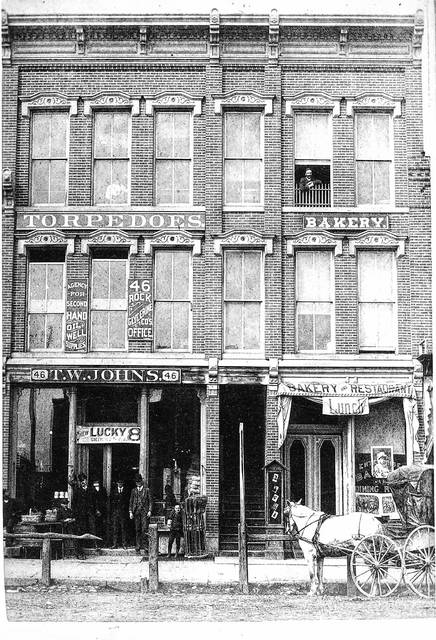 The Bowdle Block, photographed in about 1885.