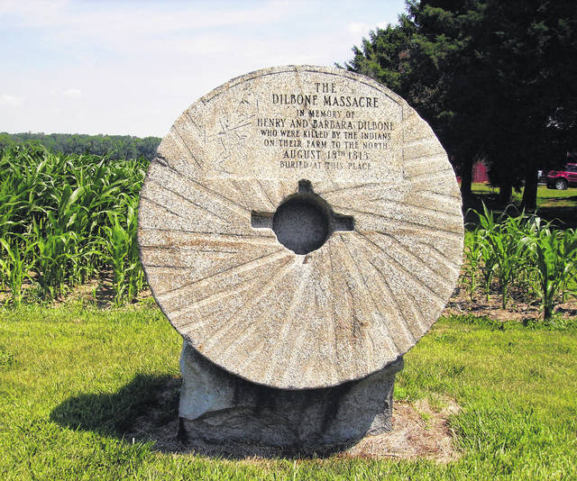 This millstone marker notes the details of the Dilbone massacre. When work was being done on what is now U.S. Route 36 in 1918, human bones were found near Fletcher. A member of the family identified the place as being where the Dilbones were buried. This memorial was built in 1949.
