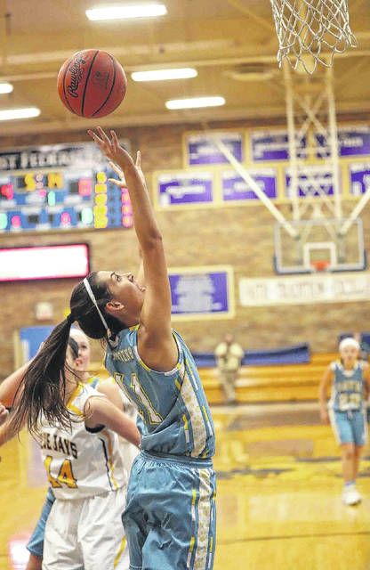 Bath's Jaidyn Hale puts up a shot during Tuesday night's game at Delphos St. John's.