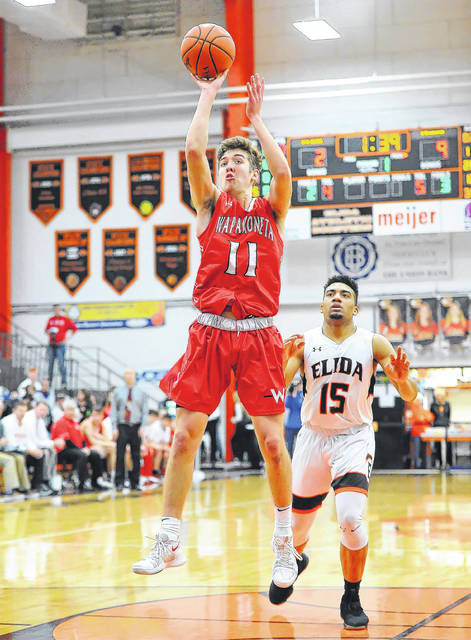 Wapakoneta's Aaron Good puts up a shot during Friday night's game at the Elida Fieldhouse.
