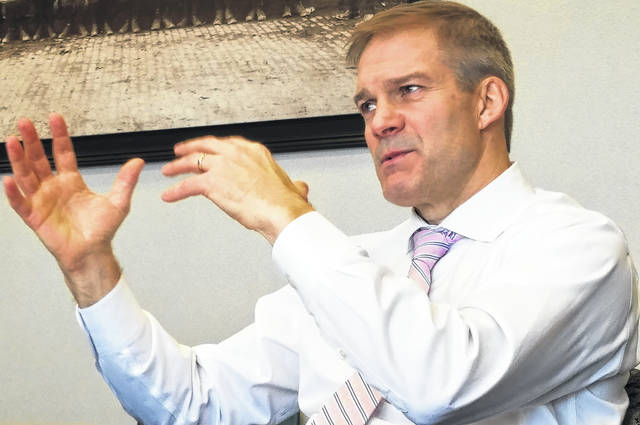 U.S. Rep. Jim Jordan, R-Urbana, talks about the government shutdown during a visit with the editorial board of The Lima News on Thursday.