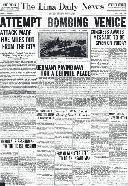 "The front page of the Jan. 3, 1918, edition of The Lima Daily News. The war was at the forefront of everyone's attention, and coal was being sent overseas to help our boys. A small note at the bottom of the page, from Butler, Pennsylvania: ""Harry Hamilton, president of the Standard Oil company, was arrested at the Nixon Hotel here today on charges that he sold coal to consumers at prices higher than those fixed by Coal Administrator H.A. Garfield."""