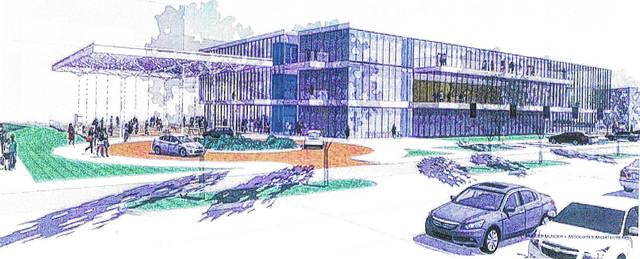 This is a rendering of the Rhodes State Center for Health Science Education and Innovation.