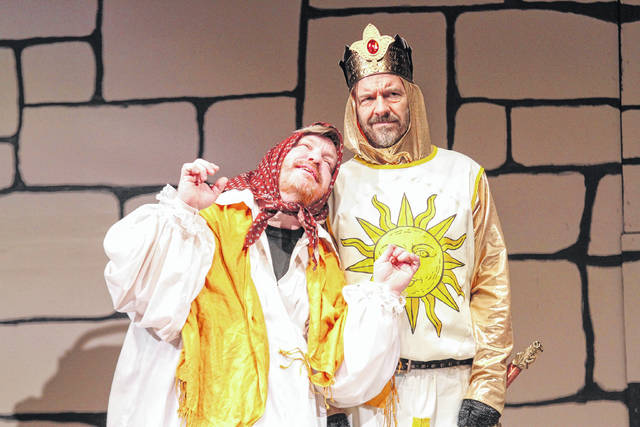 "Christopher Butturff (left) plays Dennis Galahad's mother alongside Drew Kantanen as King Arthur in Encore Theatre production of ""Spamalot"" which opens tonight."